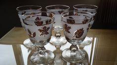 Stunning Libbey Gold Leaf Stemmed Glasses by VintageRoseandLace