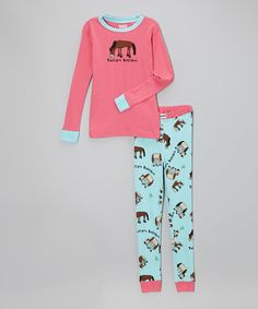 Look what I found on #zulily! Pink & Aqua 'Pasture Bedtime' Pajama Set - Toddler & Girls by Lazy One #zulilyfinds