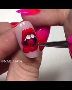 A super creative nail art to make your nails look even fancier! A super creative nail art to make your nails look even fancier! Diy Acrylic Nails, Summer Acrylic Nails, Acrylic Nail Designs, Diy Nails, Manicure, Nail Art Designs Videos, Nail Design Video, Nail Art Videos, Nails Design