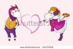 Goat sheep valentine  Postcard to the Valentine's Day can be illustrated interracial love for example, two species of domestic animals http://www.shutterstock.com/g/Og+Tatiana?rid=2220188