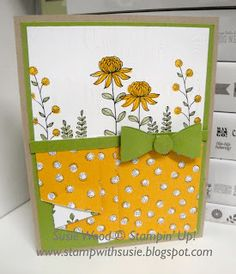 Stampin' Up!- Check out this beautiful card!!  I did the curtain fold along the bottom edge using the Wildflower Fields designer paper & the coordinating set- 'Flowerings Fields'.  BOTH of these are Sale-a-bration choices!