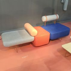 The Hoff is a playful, colorful modular sofa system by Bergen-based designers Morten & Jonas, upholstered in collaboration with Kioshi Yamamoto.