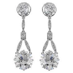 6.37 Carat Edwardian Old European Diamond Drop Earrings | From a unique collection of vintage drop earrings at http://www.1stdibs.com/jewelry/earrings/drop-earrings/