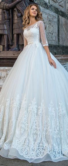 Marvelous Tulle Scoop Neckline A-line Wedding Dress With Lace Appliques & Beadings & Belt