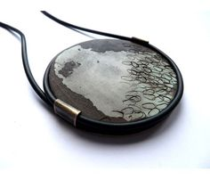Kelly Munro – 'Charred' pendant in wood, rubber and brass