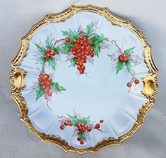OFF Beautiful & Fancy Limoges Hand Painted Christmas Holly & Berry Scenic Plate by the Artist, Ruth A. Christmas China, Christmas Dishes, Christmas Kitchen, Christmas Art, Beautiful Christmas, Christmas Ideas, Antique China, Antique Glass, Vintage Dishes