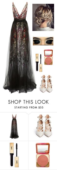 """black long dress"" by ximenavbieber3 on Polyvore featuring Gianvito Rossi, Yves Saint Laurent and Too Faced Cosmetics"