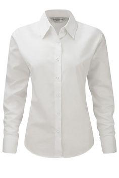 Cămaşă albă damă Oxford Russell Collection din 70% bumbac, 30% poliester #camasi #albe #personalizate #femei #brodate