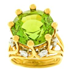Tiffany & Co. Jean Schlumberger Peridot Diamond Gold Ring | From a unique collection of vintage cocktail rings at https://www.1stdibs.com/jewelry/rings/cocktail-rings/