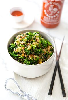 Broccolini Friedrice by A House in the Hills. Sometimes I think of things to make just for a reason to pull out the Siracha.  That's normal, ...