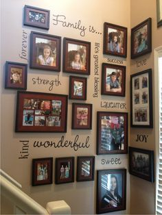 Family photo collage with vinyl words / great way to fill a staircase wall space / Sign up for a monthly newsletter featuring craft ideas and discounts on vinyl: http://www.wordplaydesigns.net/#!wp-newsletter/c1zmd