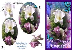 - A nice card to send at such a sad time, easy to make, and fits nicely into an DL envelope when finished. Sympathy Cards, Greeting Cards, Envelope, Decoupage, Card Making, Sad, Basket, Lily, Make It Yourself
