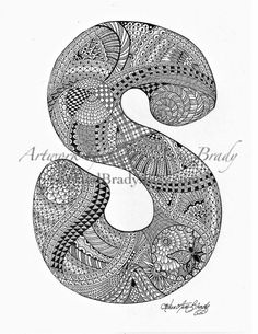 S zentangle doodle initial monogram authorized art print by Karen Anne Brady $5