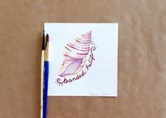 Original Gouache Cream and Wine Red Banded Tulip Seashell Painting by Amalia Hillmann of The Eclectic Illustrator