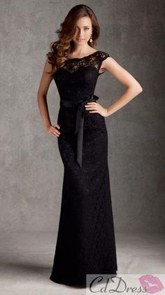 Sheath Scoop Floor Length Satin and Lace Bridesmaid Dresses $189