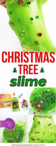 This Christmas Tree slime is such a fun Christmas sensory activity! #christmas #slime #kids #crafts #fun