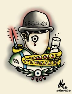Clockwork Orange - traditional style tattoo design, 2014 Felix Mitchell FMDesigns