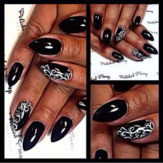 These may be my favorite black nails I have done. The white swirls just pop!!