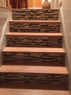 Risers tiled with glass tiles!