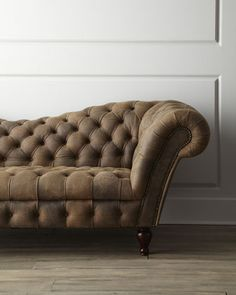 Oak Leather Recamier Sofa Exclusively at Horchow. Tufted leather sofa with rolled arms and nailhead trim. x x Boxed weight, approximately 175 lbs Tufted Leather Sofa, Best Leather Sofa, Diy Chair, Sofa Chair, Swivel Chair, Chesterfield, Sofa Furniture, Furniture Design, Sofa Deals