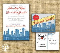new york vintage postcard wedding invitation