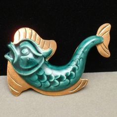 Ceramic Copper Brooch Pin Vintage Fish Dolphin 1940s | eBay