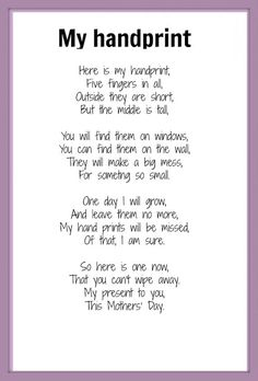 handprint poem for Mother's Day, Grandparent's day poem, mother's day card for preschool, DIY Mother's Day craft Short Mothers Day Poems, Happy Mothers Day Poem, Fathers Day Poems, Mother Poems, Mothers Day Crafts For Kids, Mothers Day Quotes, Fathers Day Crafts, Mothers Day Cards, Mother Day Gifts