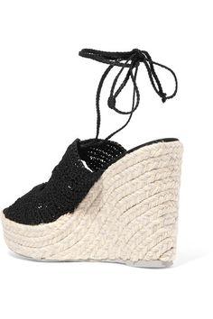 Manebi - Rio De Janeiro Crocheted Espadrille Wedge Sandals - Black - IT40