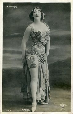 Vintage French hand-tinted photo postcard - Actress Miss Otero wearing beautiful costume