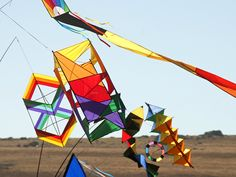 Box kites and other kites, add color to the landscape. Photo courtesy of www.westernfocusimaging.com