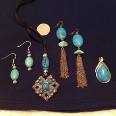 Bohemian Turquoise Collection:6 pieces mix & match Bohemian Turquoise Collection:6 pieces mix & match. The earrings are both from Avon, I think.  The Teardrop pendant is from Lia Sophia. The square necklace was a gift & is on a lanyard.  These pieces mix & match easily to make that perfect Bohemian style pop!  Sold as set for list price or will sell individually:  an earring set =$25. A pendant=$25. The square necklace=$5. Lia Sophia Jewelry