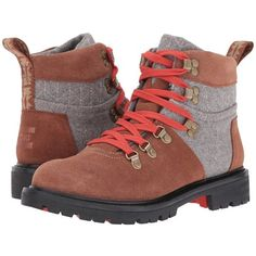 TOMS Summit Boot (Rawhide Suede/Grey Wool) Women's Hiking Boots ($149) ❤ liked on Polyvore featuring shoes, boots, ankle boots, gray boots, short heel boots, short boots, suede lace-up boots and lace up boots