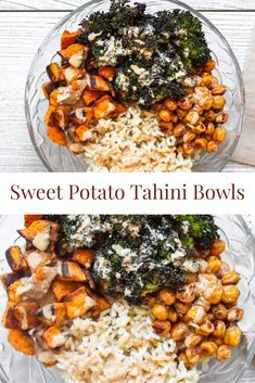 Rice bowls are a healthy recipe perfect for the healthy eating in the New Year. Broccoli, sweet potatoes and chick peas roast until crispy then topped with an almond butter tahini. Whole Food Recipes, Diet Recipes, Vegetarian Recipes, Cooking Recipes, Healthy Recipes, Vegetarian Rice Bowl Recipe, Recipies, Good Sweet Potato Recipe, Sweet Potato Rice