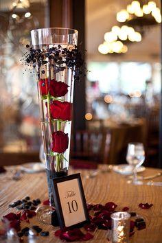 Tall Rose Glass Vase Halloween Wedding Centerpieces