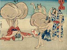<金玉ちからもち : NKINTAMA CHIKARAMOCHI> STRONG RACCOON DOG KUNIYOSHI UTAGAWA 1798-1861 Last of Edo Period
