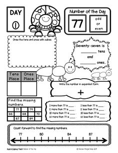 April Number of the Day First Grade Math Practice