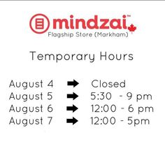 We are off to Otakuthon for the weekend! So we have temporary hours for few days in the Markham location. Sorry for the inconvenience. #Mindzai #Markham