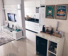 Desejo Apartment Interior Design, Cafe Bar, House Goals, Tiny Living Rooms, Condo Living, Cosy Room, Coffee Station Kitchen, Girls Room Design, Sala Vintage