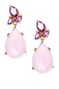 Amethyst quartz cluster and rose quartz drop earrings. Chic and glam. HauteLook
