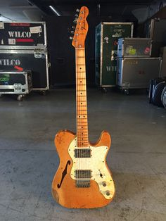 Wilco Loft Shop - Fender Reissue Thinline Telecaster Relic'd by Dax - owned by Jeff Tweedy Fender Stratocaster, Fender Guitars, Loft Shop, Shops, Fender Custom Shop, Electric Guitars, Bass, Music Instruments, The Originals