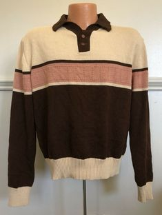 5e17e66978f2cc Vintage 1970s 1980s Mens Sweater KP Collar Buttons Brown Earth Tones 70s  80s