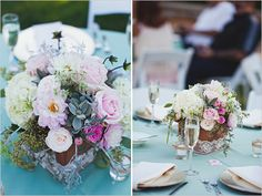 flower boxes wrapped in lace with succulents, dahlias, roses, & hydrangea | flowers by Third Bloom