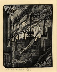 Full: Front Semi-abstract composition with smoking chimneys. 1925 Wood-engraving, on oriental paper © The Trustees of the British Museum Linocut Prints, Art Prints, Block Prints, Scratchboard, Wood Engraving, Woodblock Print, Industrial Loft, Industrial Windows, Industrial Restaurant