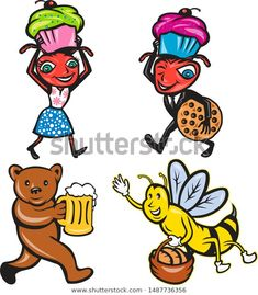 Collection of illustrations of animals and insects with food done in cartoon style Cartoon Characters, Fictional Characters, Cartoon Styles, Beverage, Insects, Cupcake, Royalty Free Stock Photos, Illustrations, Artist