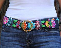 Cinturon Bordado Cinturon de Flores Cinturon Negro por WomensBelts