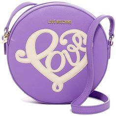 LOVE Moschino Borsa Round Crossbody ($88) ❤ liked on Polyvore featuring bags, handbags, shoulder bags, purple, cross body strap purse, cross-body handbag, purple crossbody, purple shoulder bag and purple handbags