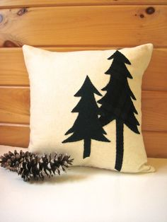Decorative Throw Pillow, Rustic Pine Trees Pillow, Cabin Pillow, Green Pine Trees 16 Inch Square Pillow on Etsy, $54.00