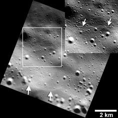 Recent images from NASA's MESSENGER spacecraft reveal small fault scarps on Mercury's surface. These cliff-like landforms are small enough that planetary scientists believe they must be geologically young, which means the planet is still contracting and that Earth is not the only tectonically active planet in the Solar System, as previously thought.