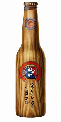 Old Style - Chicago's Beer (wooden sleeve beer) -- Such a fun way to bring the Cubs and fans love of baseball to their brand!