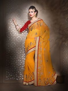 #Yellow #Georgette #Saree